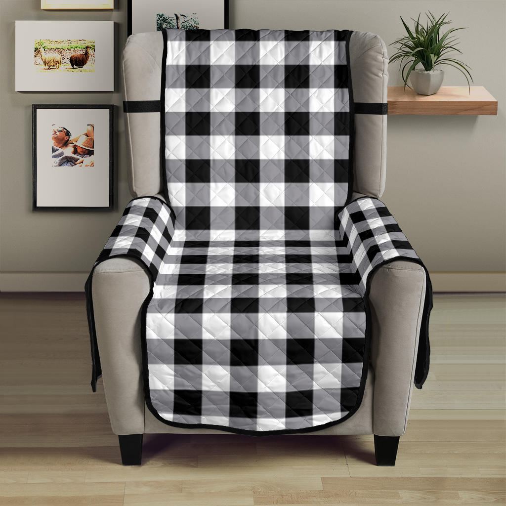 Buffalo Check Armchair Slipcover Protectors In Black, White and Gray For 23