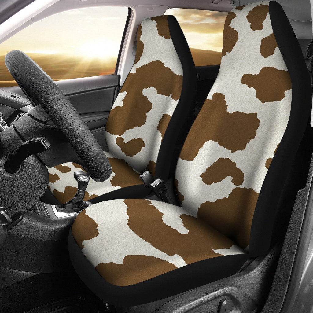 Light Brown and White Cow Hide Print Car Seat Covers Rustic Pattern