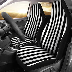 Black and White Striped Car Seat Covers