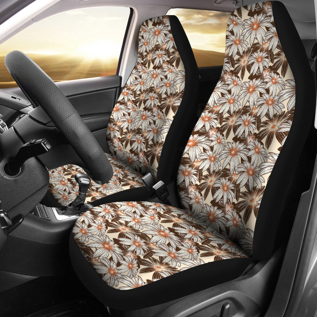 Tan With Daisies Car Seat Covers
