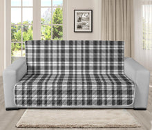 "Load image into Gallery viewer, Gray and White Plaid Futon Slipcover Protector Fits Up To 70"" Seat Width Couch"
