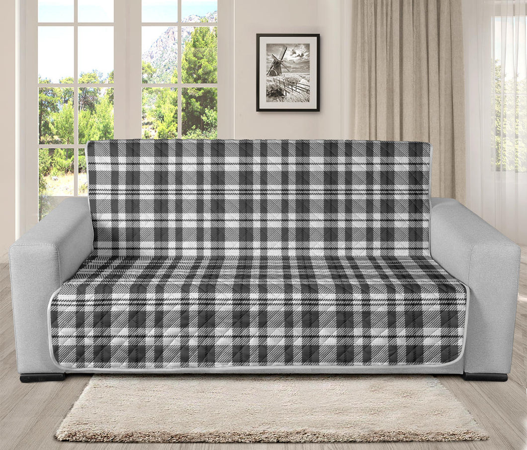 Gray and White Plaid Futon Slipcover Protector Fits Up To 70