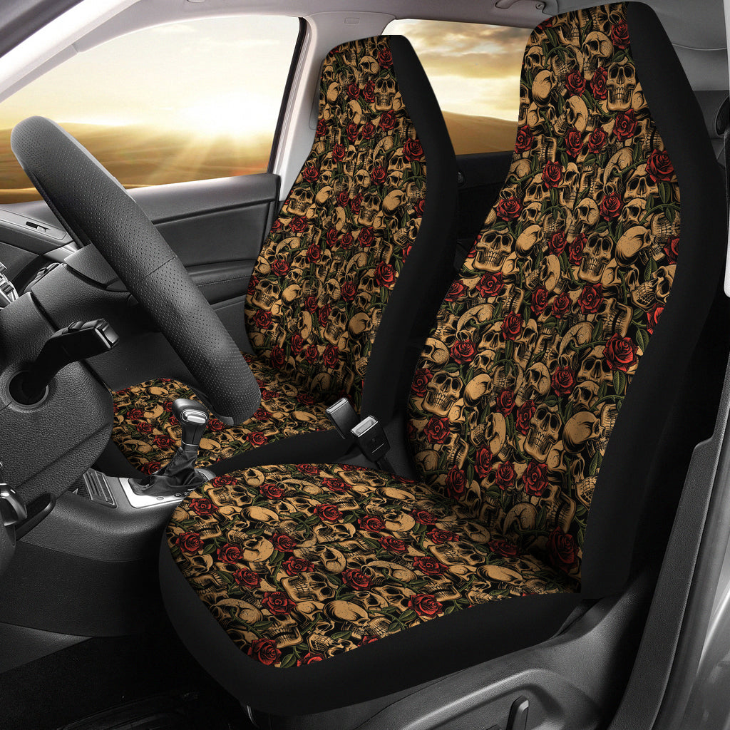 Skulls With Roses Car Seat Covers Tattoo Style