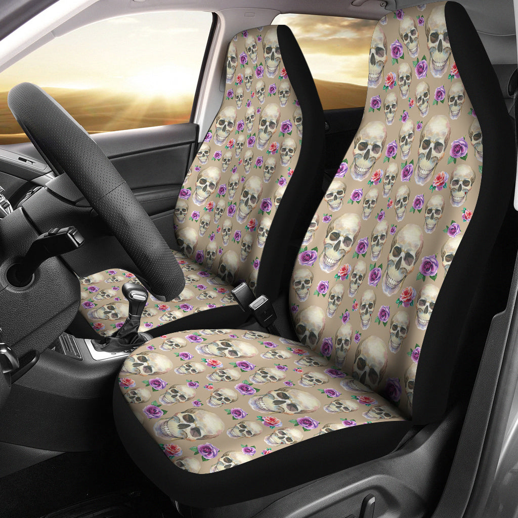 Tan With Skulls and Roses Car Seat Covers