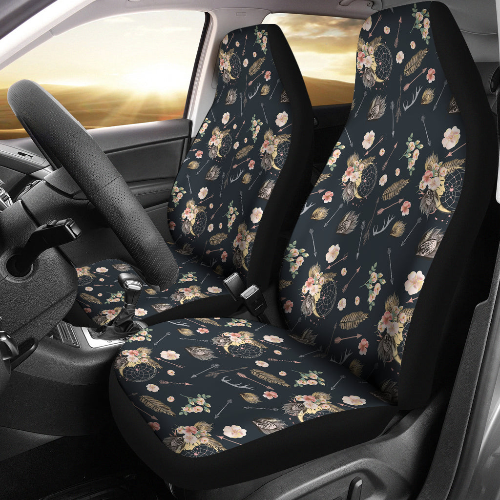 Black With Boho Pattern Car Seat Covers