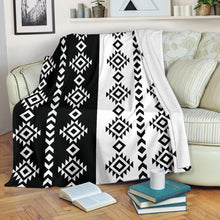 Load image into Gallery viewer, Black and White Ethnic Tribal Contrast Pattern Fleece Blanket