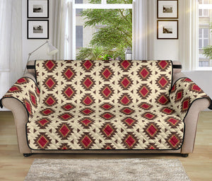 "Creamy Beige and Red Navajo Style Native Tribal Pattern 70"" Sofa Cover Couch Protector"
