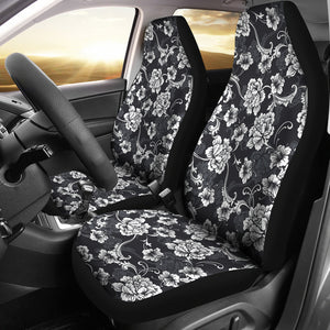 Dark Gray and White Baroque Flower Car Seat Covers