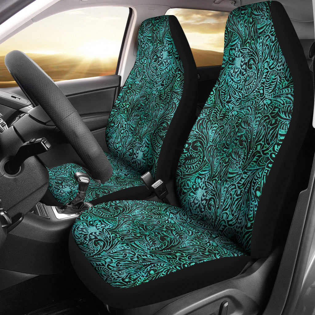 Turquoise Tooled Leather Style Printed Texture Design Car Seat Covers