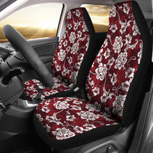 Load image into Gallery viewer, Dark Red and White Baroque Flower Pattern Car Seat Covers