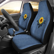 Load image into Gallery viewer, Sunflower Dreamcatcher Boho Design On Rustic Blue Faux Denim Car Seat Covers