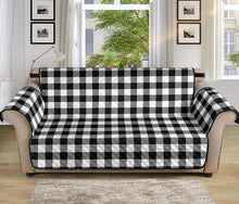 "Load image into Gallery viewer, Black White Buffalo Plaid 70"" Sofa Couch Protector"