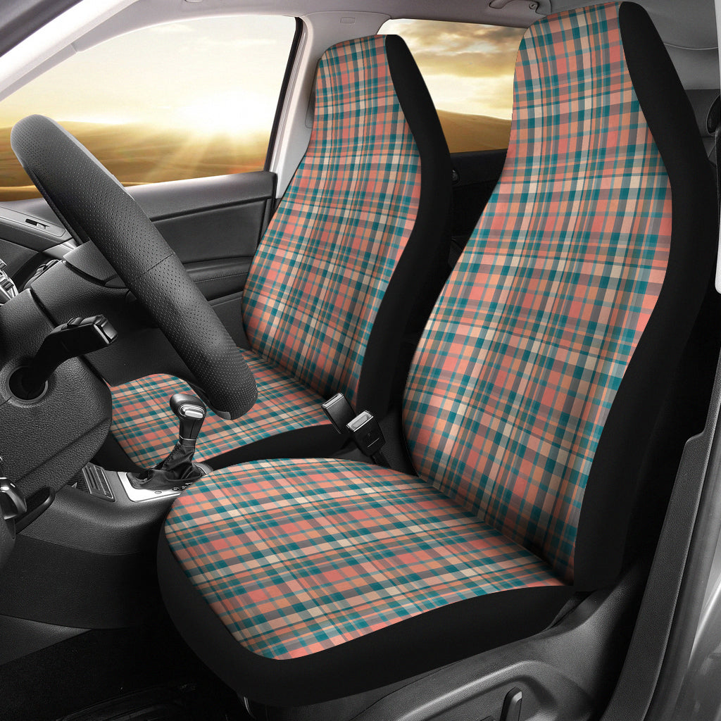 Peach Plaid Car Seat Covers