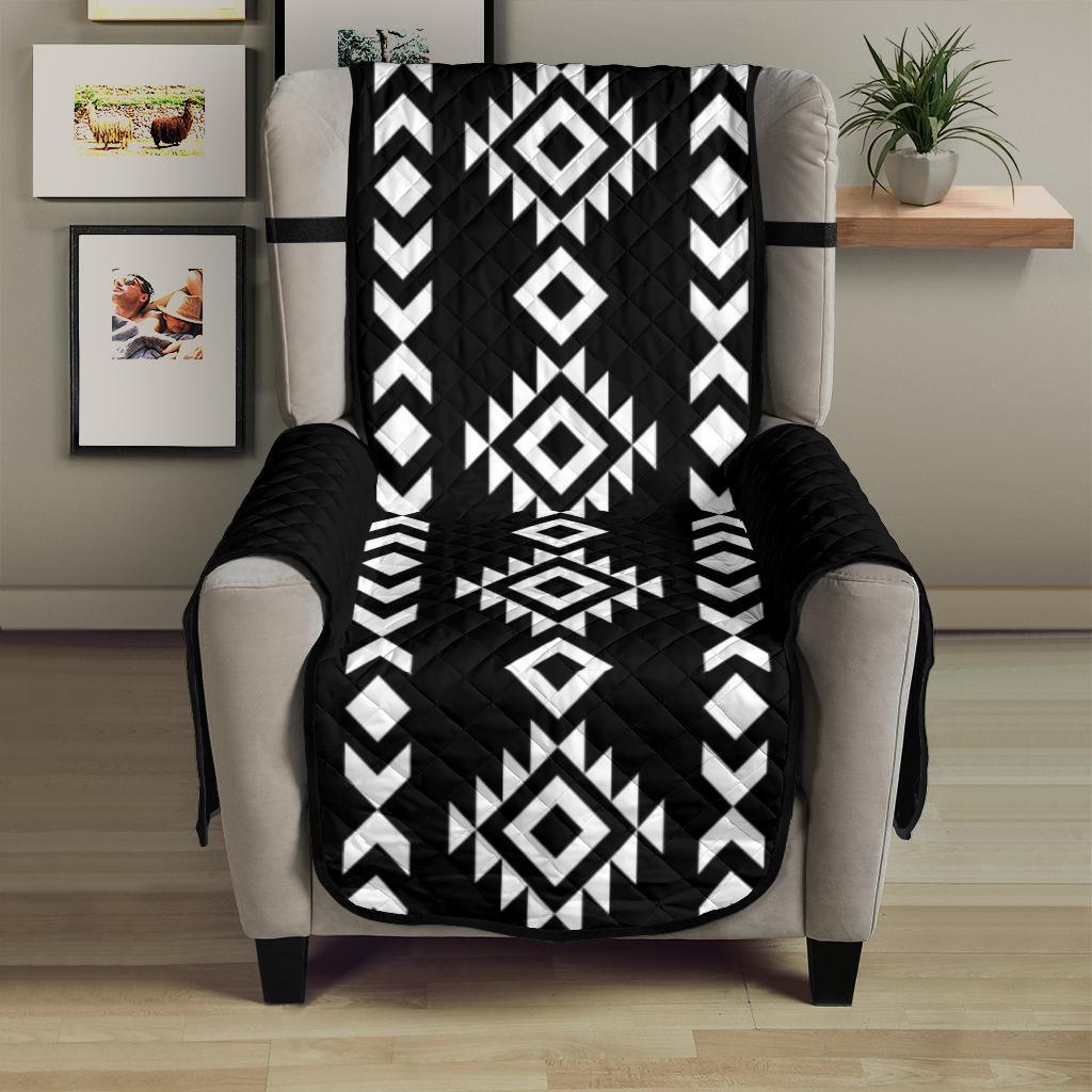 Black and White Ethnic Tribal Armchair Slipcover Protector Fits Up To 23