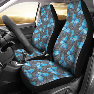 Dark Gray White Leaves Background With Blue Butterfly Car Seat Covers