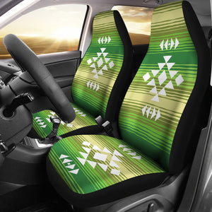 White Tribal Design on Green Serape Style Ethnic Pattern Car Seat Covers Set