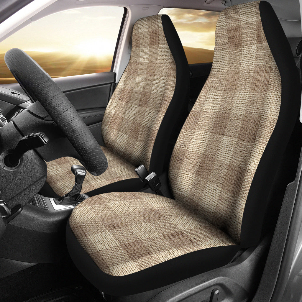 Light Colored Burlap Style Buffalo Plaid Car Seat Covers Seat Protectors
