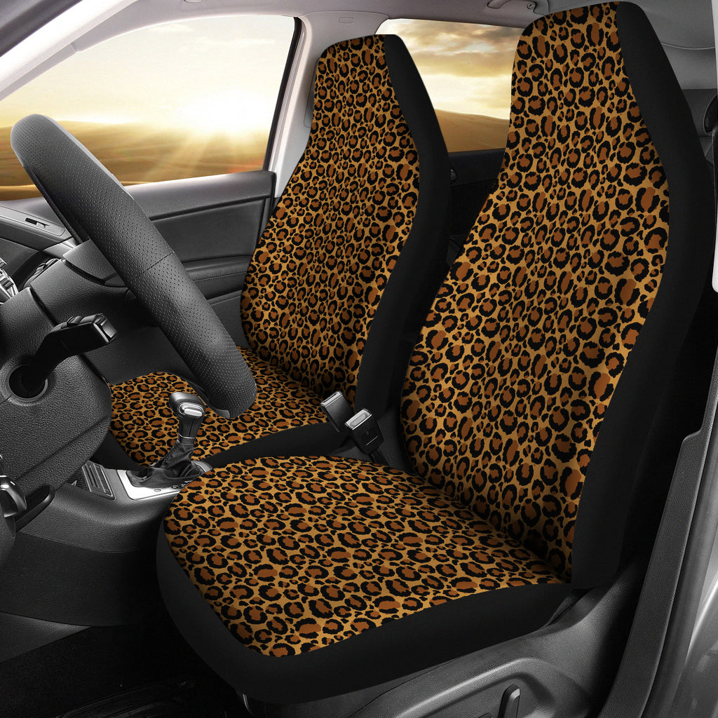 Classic Leopard Skin Car Seat Covers Animal Print Seat Protectors Set of 2