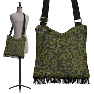Olive Green Batik Swirls Design Canvas Printed Boho Bag With Fringe Crossbody Shoulder Purse