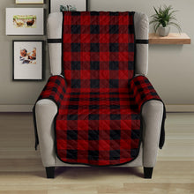"Load image into Gallery viewer, Red and Black 23"" Sofa Chair Cover Protecter Farmhouse Country Home Decor"