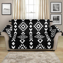 "Load image into Gallery viewer, Black and White Ethnic Tribal Pattern 54"" Loveseat Sofa Protector Couch Slipcover"