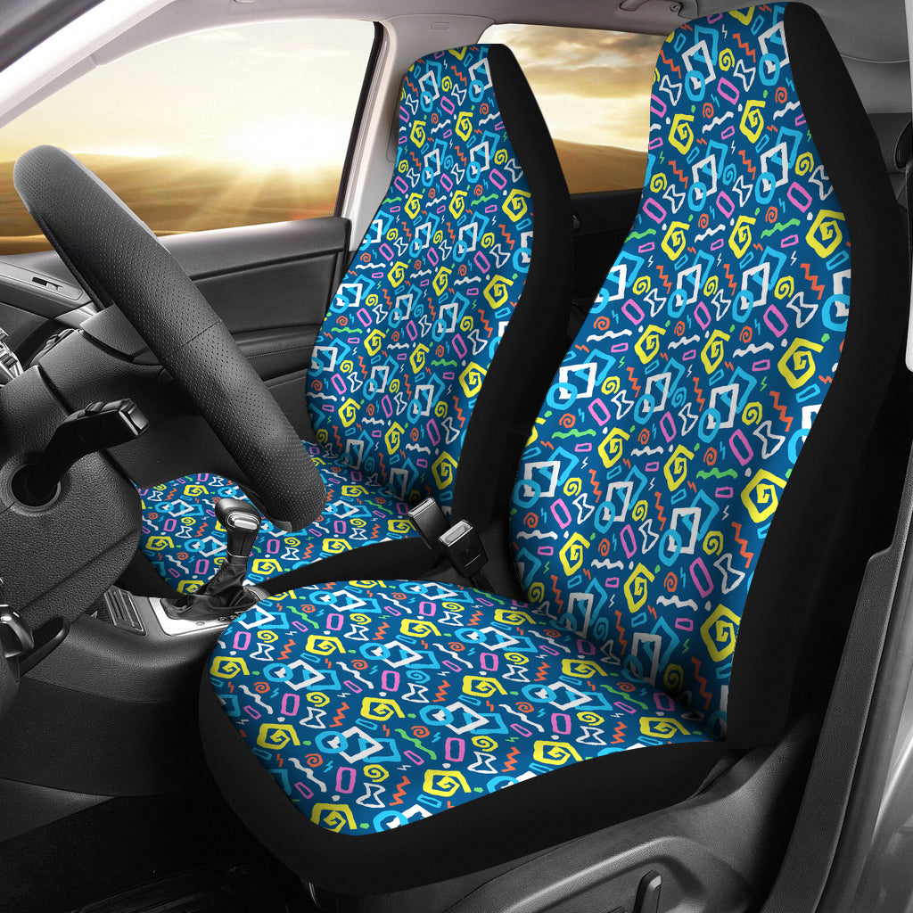 Colorful 80's Abstract Pattern Car Seat Covers