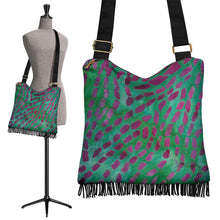 Load image into Gallery viewer, Green and Pink Batik Pattern Boho Bag Crossbody Shoulder Strap Purse