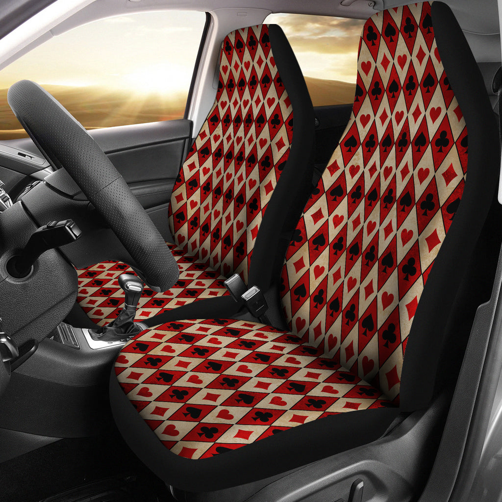 Old Playing Card Suits Pattern Car Seat Covers Red and Black
