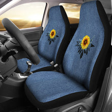 Load image into Gallery viewer, Sunflower Dreamcatcher on Faux Blue Denim Rustic Boho Car Seat Covers Seat Protectors