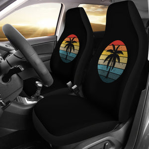 Black with Retro Sun and Palm Tree Car Seat Covers Set
