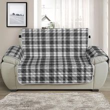 Load image into Gallery viewer, Gray and white Plaid Chair and a Half