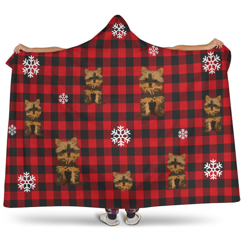 Yorkie Hooded Blanket Red Buffalo Plaid
