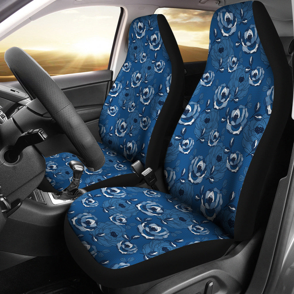 Blue Roses Pattern Car Seat Cover Set