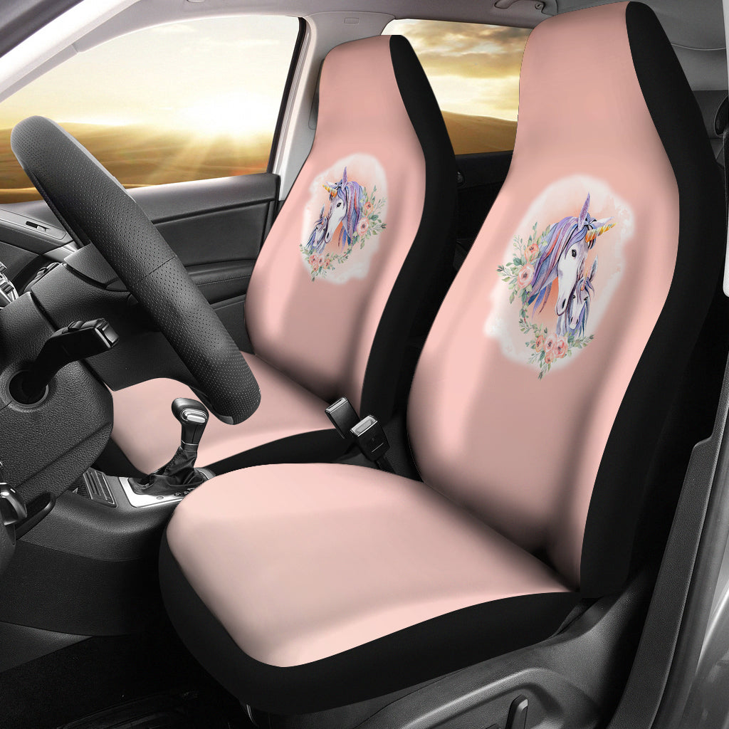 Unicorns on Peach Watercolor Ombre Car Seat Covers