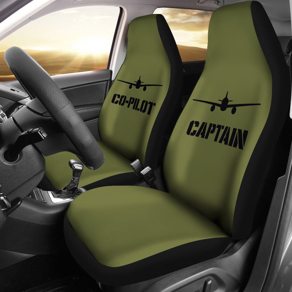 Captain and Co-Pilot Car Seat Covers Set Army Green Military