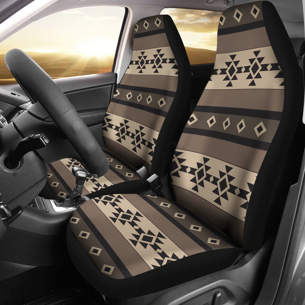 Neutral Brown, Black and Tan Tribal Boho Car Seat Covers Set of 2