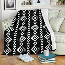 Load image into Gallery viewer, Black and White Ethnic Tribal Pattern Fleece Throw Blanket