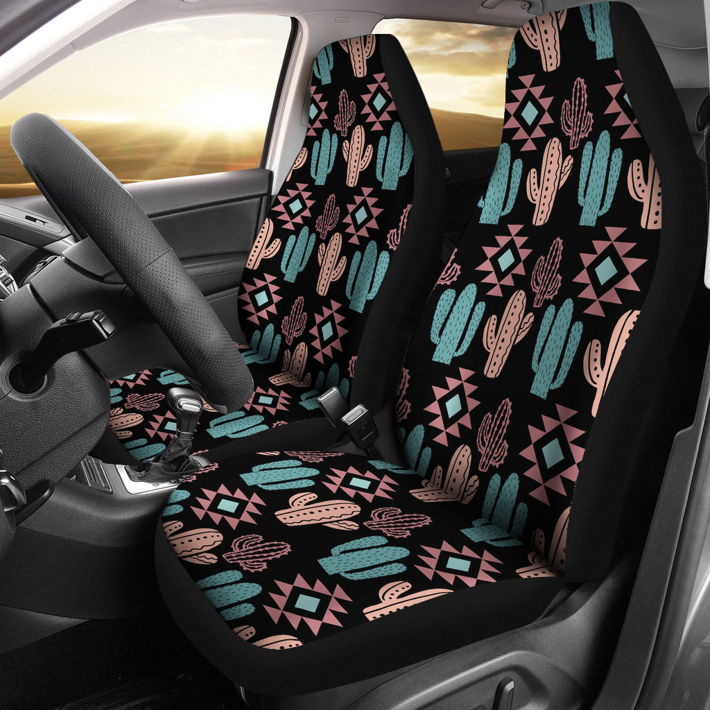 Pastel Turquoise and Rose Cactus Boho Pattern on Black Car Seat Covers Set of 2