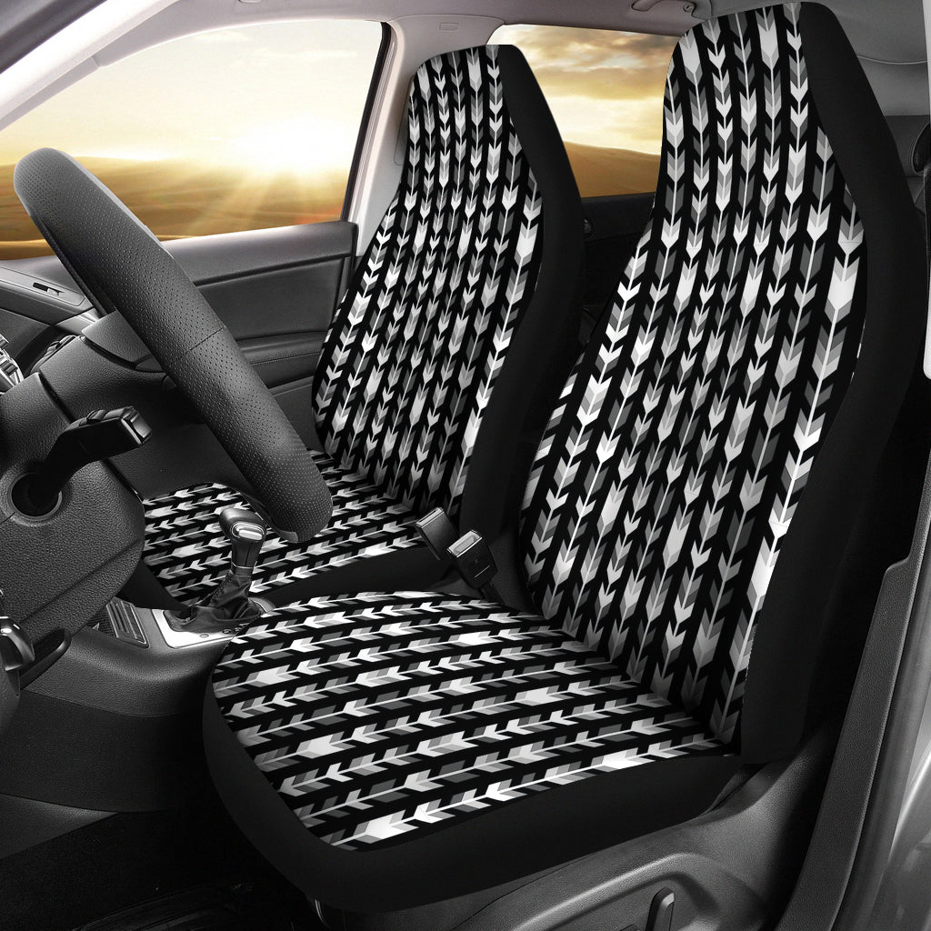Gray, Black and White Boho Arrow Pattern Car Seat Covers
