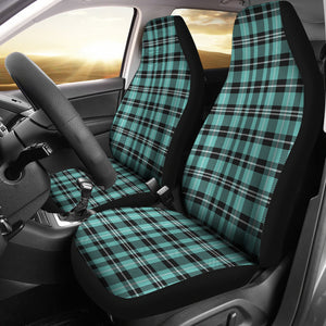Turquoise Plaid Car Seat Covers