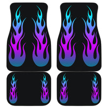 Load image into Gallery viewer, Flames in Purple Turquoise Ombre on Black Car Floor Mats Set of 4
