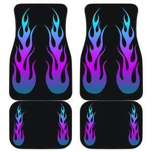 Flames in Purple Turquoise Ombre on Black Car Floor Mats Set of 4
