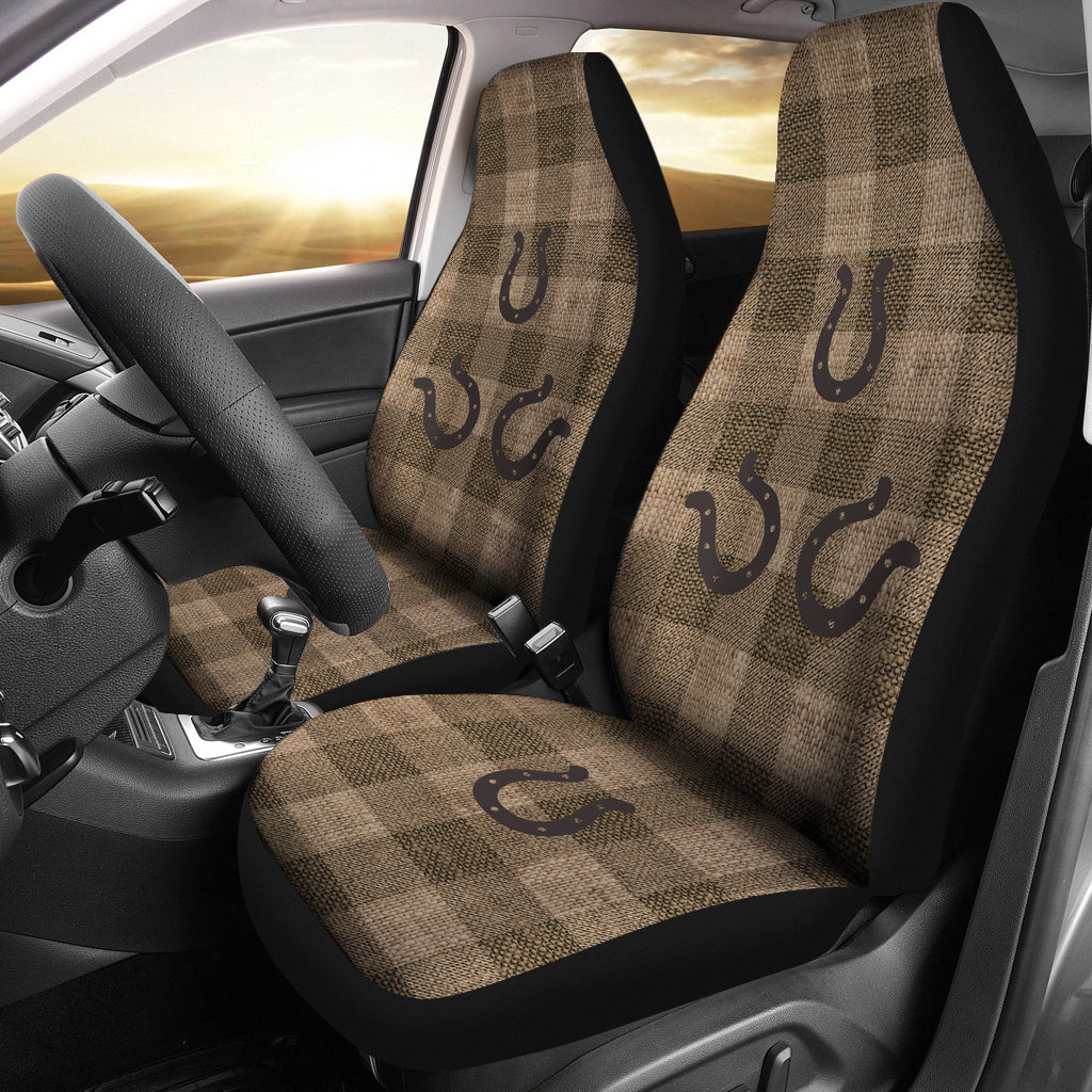 Dark Burlap Style Buffalo Plaid Car Seat Covers With Rustic Horseshoes Western Cowboy Farmhouse