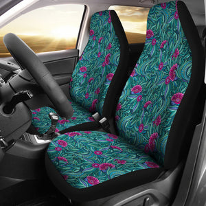 Teal and Magenta Abstract Floral Pattern Car Seat Covers