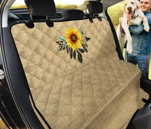 Boho Sunflower Dreamcatcher on Burlap Style Background Back Seat Cover For Pets
