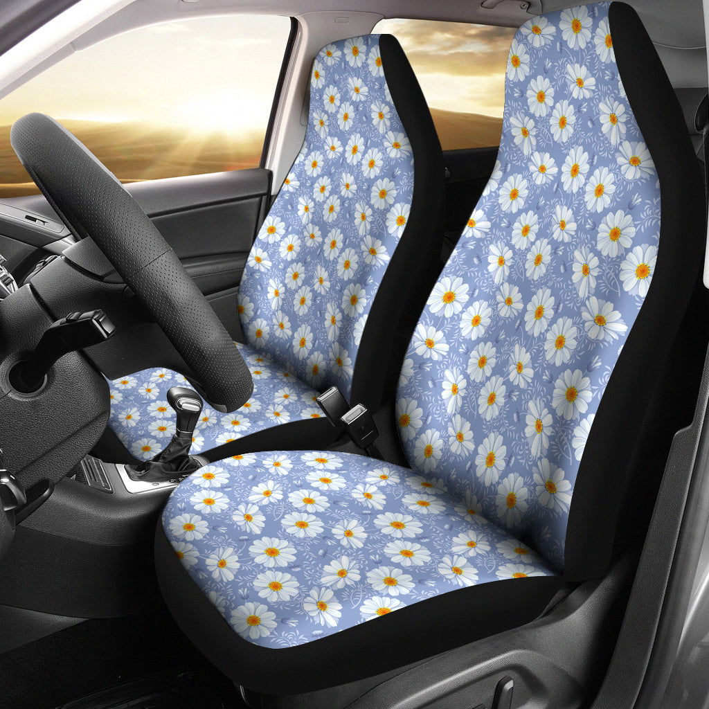 Light Blue With White Daisy Pattern Car Seat Covers
