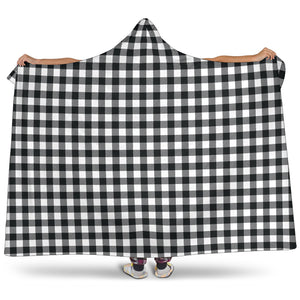 Black and White Buffalo Plaid Hooded Sherpa Lined Blanket