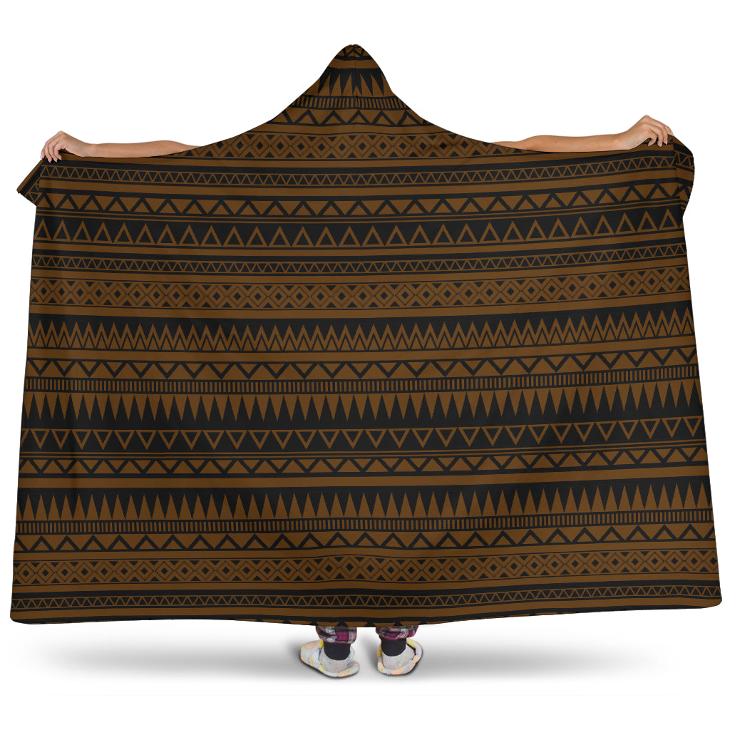 Brown Tribal Ethnic Pattern Hooded Blanket With Tan Sherpa Lining