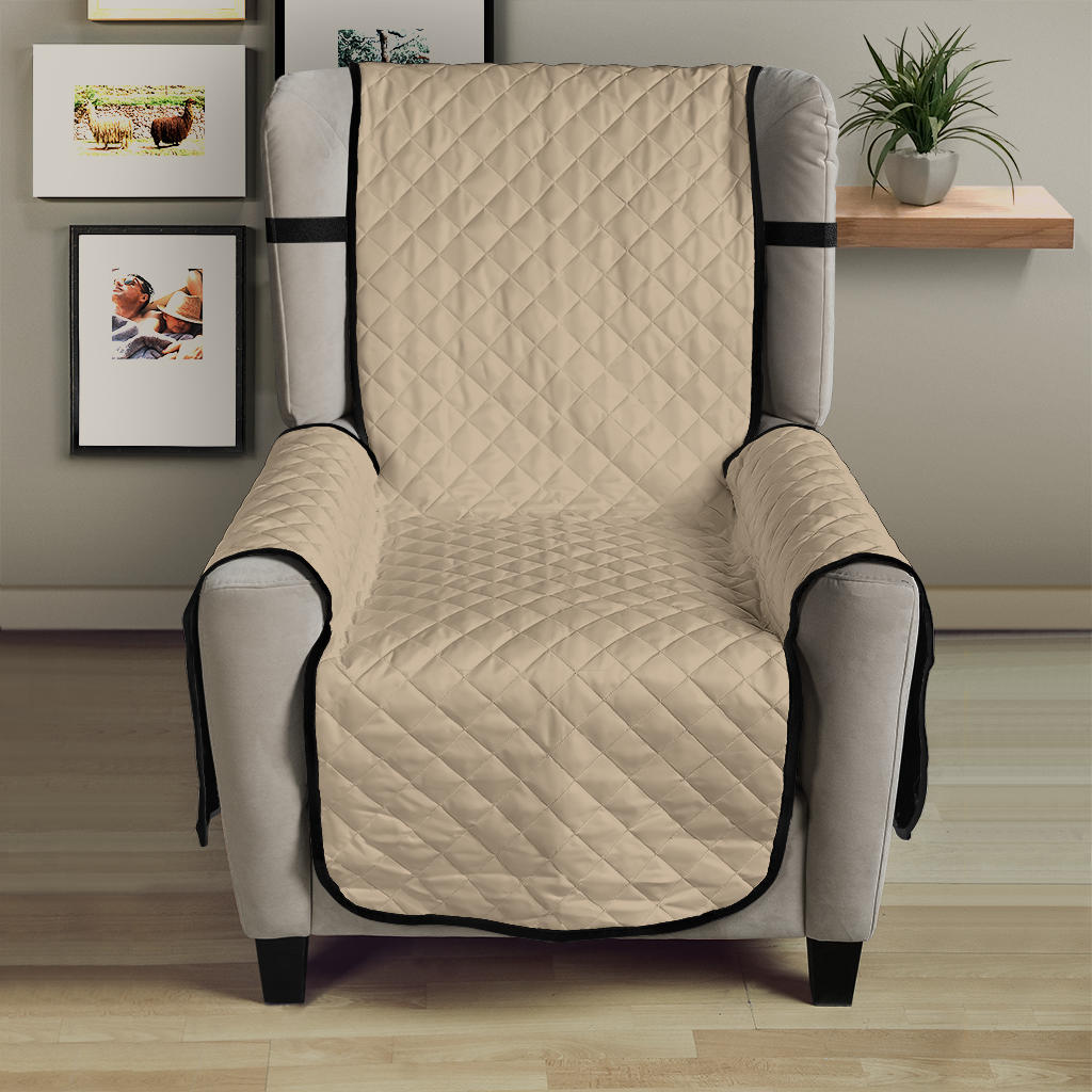 Cool Tan Armchair Solid Color Slipcover 23