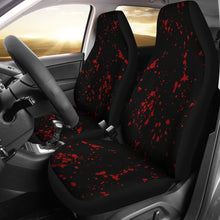 Load image into Gallery viewer, Black With Red Blood Spatter Splatter Pattern Car Seat Covers